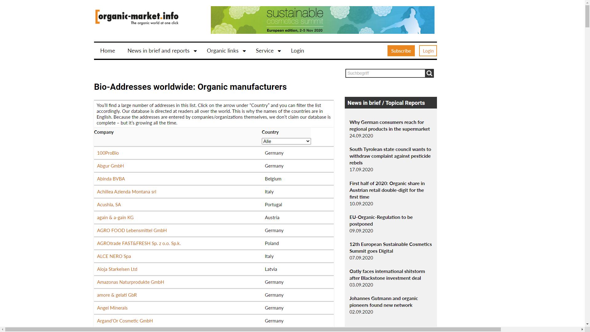 baza de date producatori organici